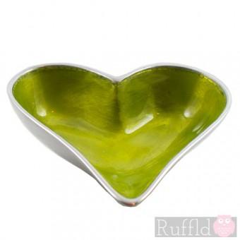Azeti Aluminium Small Heart- shaped Dish with Lime Green Enamel Finish.