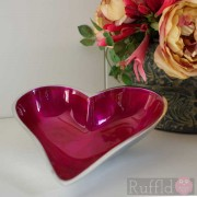 Azeti Aluminium Small Heart-Shaped Dish with Cerise Pink Enamel Finish.
