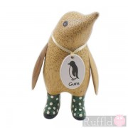 Baby Wooden Guin (penguin) In Green Welly Boots with White Spots