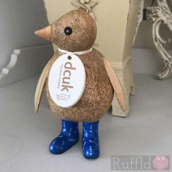 Baby Emperor Penguin in Electric Blue Welly Boots with Anchors, Glancing Right