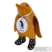 Baby Wooden Guin (penguin) In Black Spotty Welly Boots