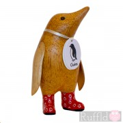 Baby Wooden Guin (penguin) In Red Welly Boots
