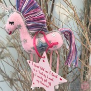 Unicorn - Pink -  Colourful Pastel Shades on Mane and Tail