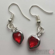 Earrings - Red Heart Crystals