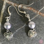 Earrings - Dangly Pearl and Heart