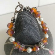 Bracelet - Handcrafted - Orange and Pearl Design