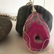 Gemstone Handcrafted Bright Pink Agate Pendant