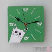 Clock - Pusskin Design in Green