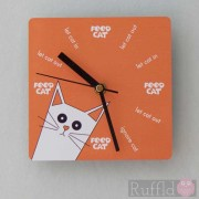 Clock - Pusskin Design in Orange