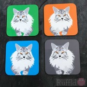 Cat Coasters - Maine Coon Design