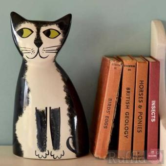 Money Box - Black and White Cat Design