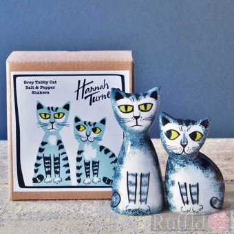 Salt and Pepper Shakers - Grey Tabby Cat Design