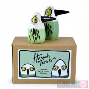 Salt and Pepper Shakers - Birdlife Design in Green