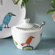 Sugar Pot and Lid - Birdlife Design