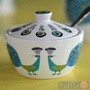 Sugar Pot and Lid - Peacock Design