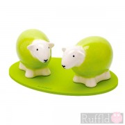 Sheep Salt and Pepper Shakers in Green