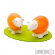 Sheep Salt and Pepper Shakers in Orange