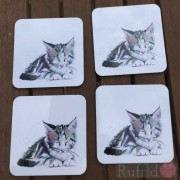 Coaster Set -  Inky Kitten Design