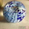 Paperweight - Salsa Collection - Round Glass in Blue  Design