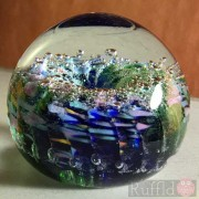 Paperweight - Salsa Collection - Round Glass in Green and Blue Design