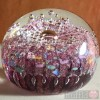 Paperweight - Salsa Collection - Round Glass in Pink Bubbly Design
