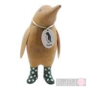 Parent Wooden Guin (penguin) In Green Welly Boots with White Spots