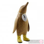 Parent Wooden Guin (penguin) in Yellow Welly Boots with White Spots