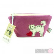 Make-up Bag in Pink with Cat design (Small size) by Poppy Treffry