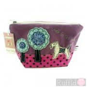 Make-up Bag in Purple with Dog design (Large size) by Poppy Treffry