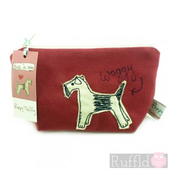 Make-up Bag in Red with Dog design (Small size) by Poppy Treffry