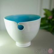 Porcelain Turquoise and White Bowl by Richard Baxter