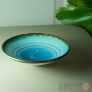Porcelain Tiny Bowl with Circles on Blue by Richard Baxter