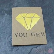 "Card - Gold ""You Gem"""