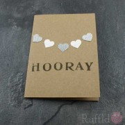 "Card - Silver Hearts ""Hooray"""