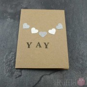 "Card - Silver Hearts ""Yay"""