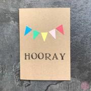 "Card - Coloured Bunting ""Hooray"""
