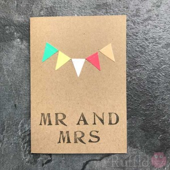 """Card - """"Mr and Mrs"""" - Colourful Bunting"""