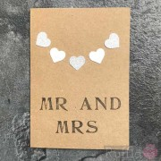 "Card - ""Mr and Mrs"" - Hearts"