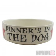 Dog Bowl with Dinner's in the Dog Design