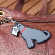 Dog Key Ring - Schnauzer (Grey) Design