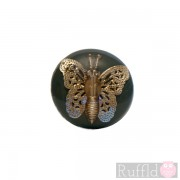 Teal Door Knob / Handle with metal butterfly decoration