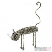 Wire Knitted Small Standing Cat Sculpture