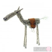 Wire Knitted Small Horse with Saddle Sculpture