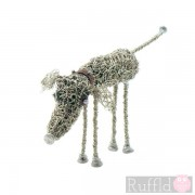 Wire Knitted Small Standing Hound Sculpture