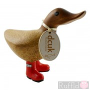 Baby Wooden Duck with Closed Beak in Red  Welly Boots