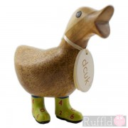 Baby Wooden Duck with Open Beak in Green Number Design Welly Boots